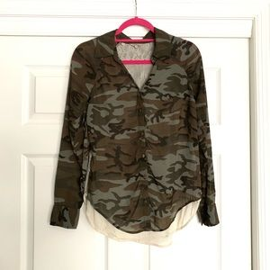 Guess camo/lace combo top